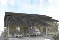 共栄ホームズ インナーガレージを持つ大屋根の和風住宅